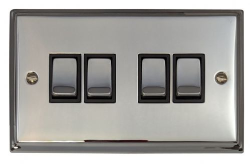 G&H DC304 Deco Plate Polished Chrome 4 Gang 1 or 2 Way Rocker Light Switch